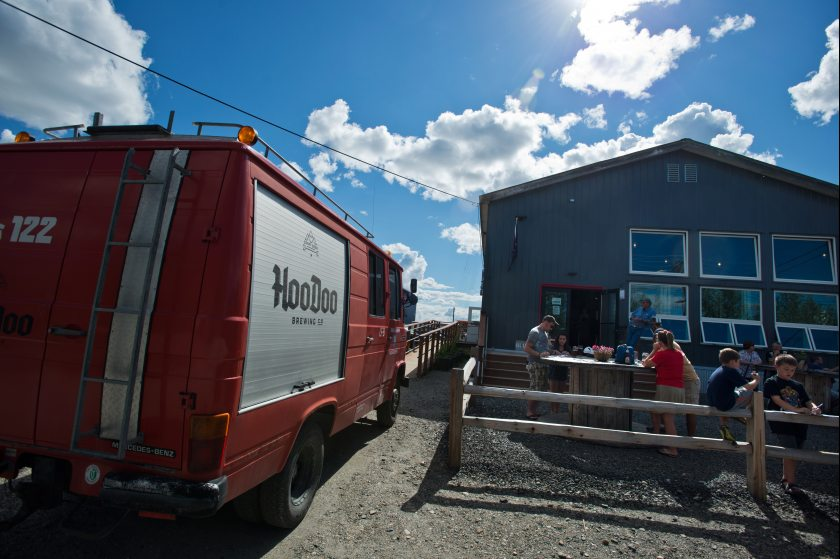 Customers can enjoy their beer outside the Taproom in the Biergarten. Photo: Mark Lester - Alaska Dispatch News